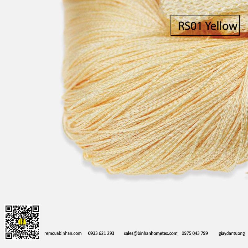 Rèm sợi chỉ trơn màu vàng kem 3m*3m Rèm sợi chỉ trang trí nhà hàng, shop, spa tiệc cưới