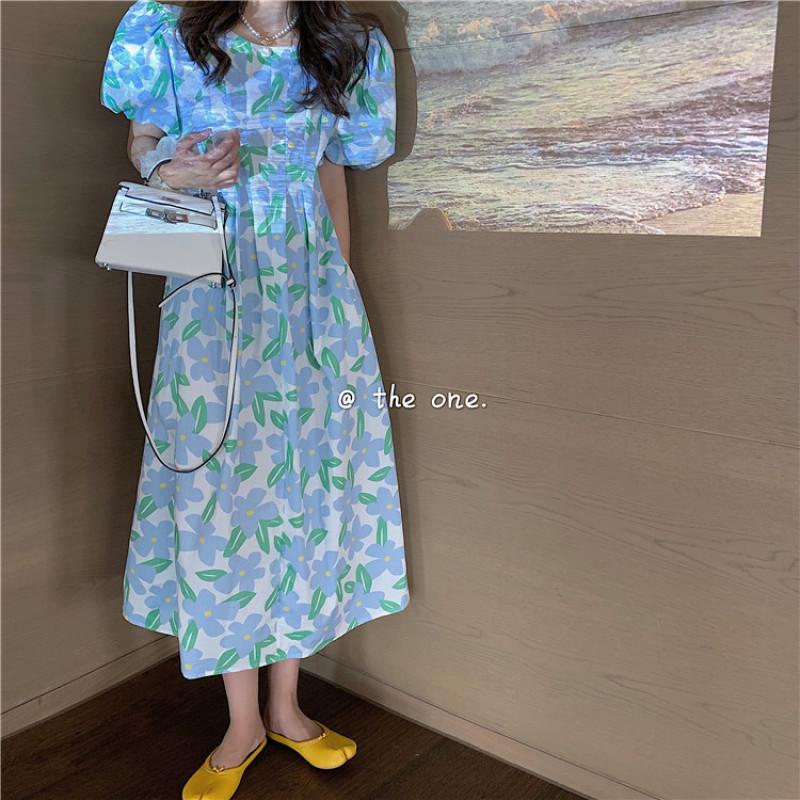 Hoa Nhỏ Đầm Kiểu Pháp Tay Bồng 2020 Mẫu Mới Bó Eo Tôn Dáng Phong Cách Retro Khí Chất Kiểu Lửng Váy Nữ Mùa Hè