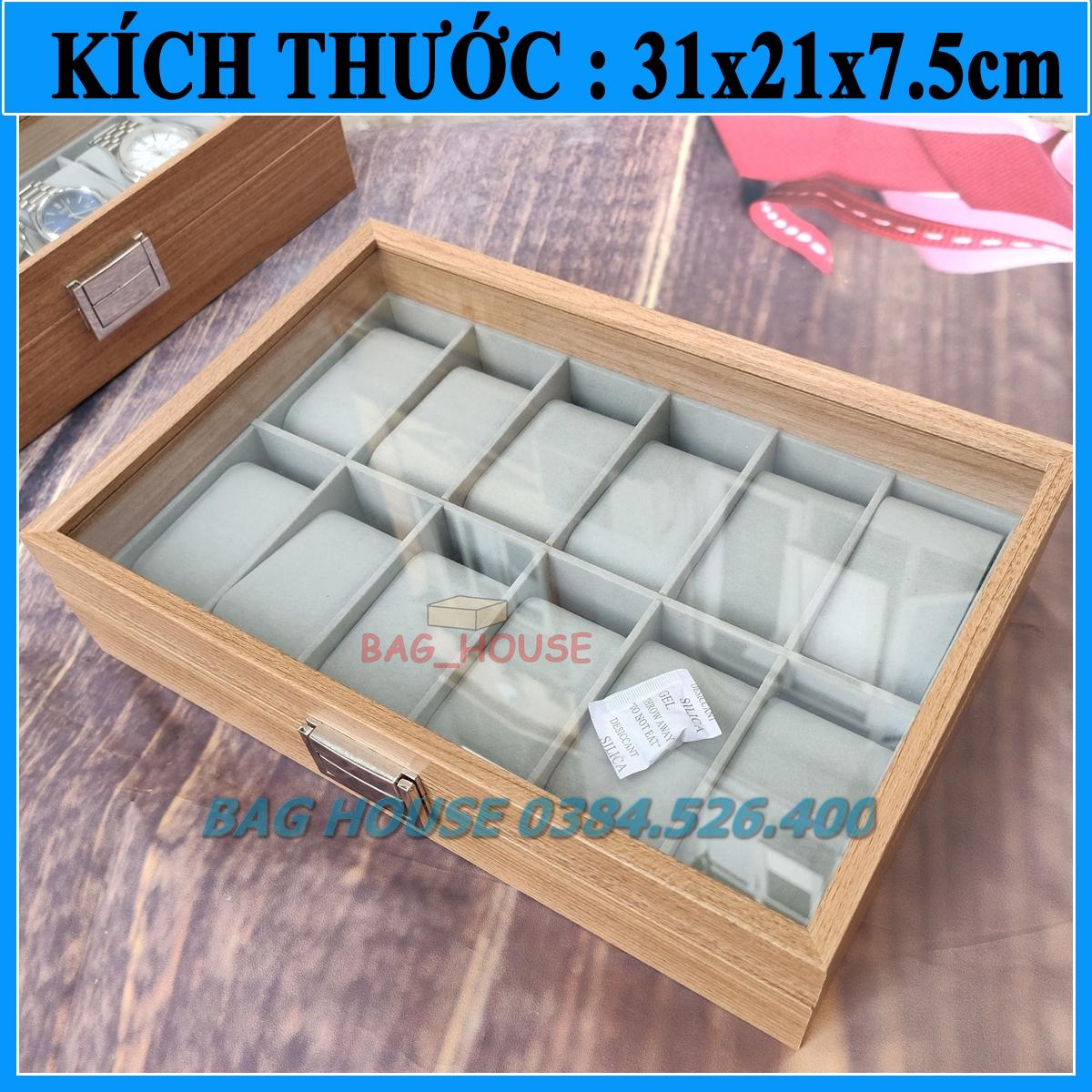 Hộp đựng đồng hồ 12 ngăn bằng gỗ