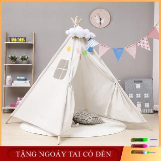 Lều vải Handmade cao cấp- Nhà chơi ngủ lều công chúa hoàng tử chất liệu cotton cho bé thumbnail