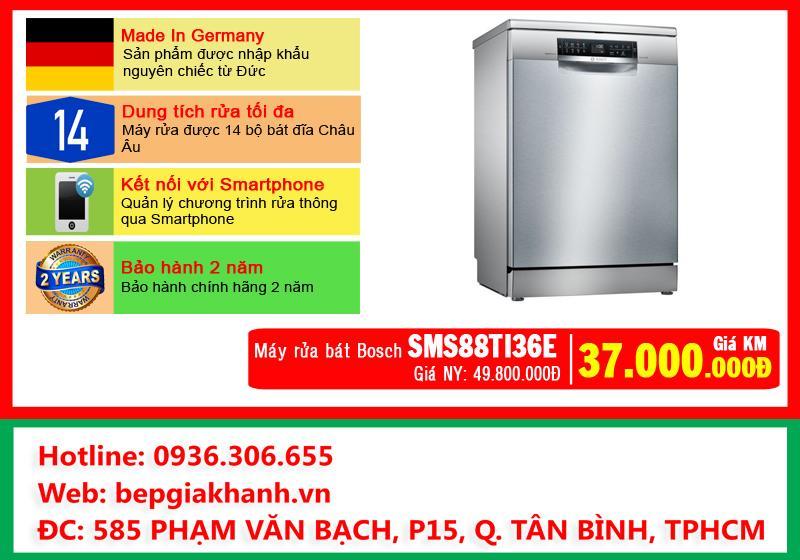 Máy rửa bát Bosch SMS88TI36E kết nối với Smartphone, máy rửa chén, máy rửa chén bát