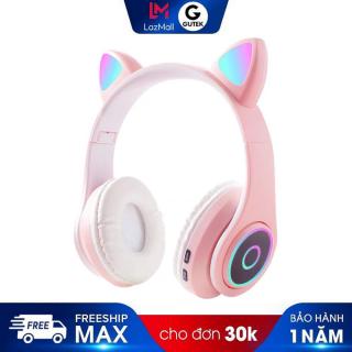 Tai nghe bluetooth không dây chụp tai hình tai mèo đèn led 7 màu Gutek B39 chống ồn âm thanh chất lượng thumbnail