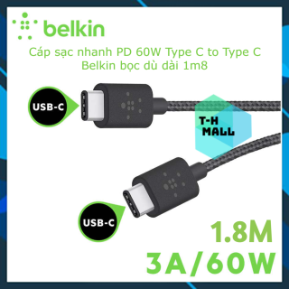 [New 100% nobox] Cáp sạc Belkin MIXIT TM USB-C to USB-C 1.8m - F2CU041bt06 vỏ dù Metallic thumbnail