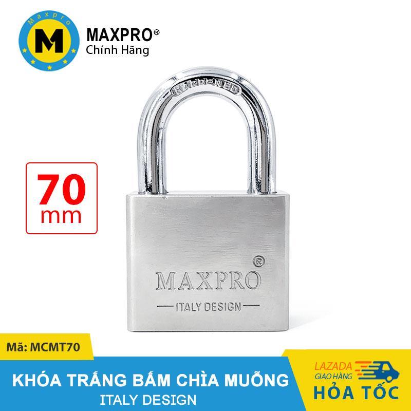 Ổ Khóa Trắng Bấm MAXPRO Càng Thường Chìa Muỗng 70mm - MCMT70