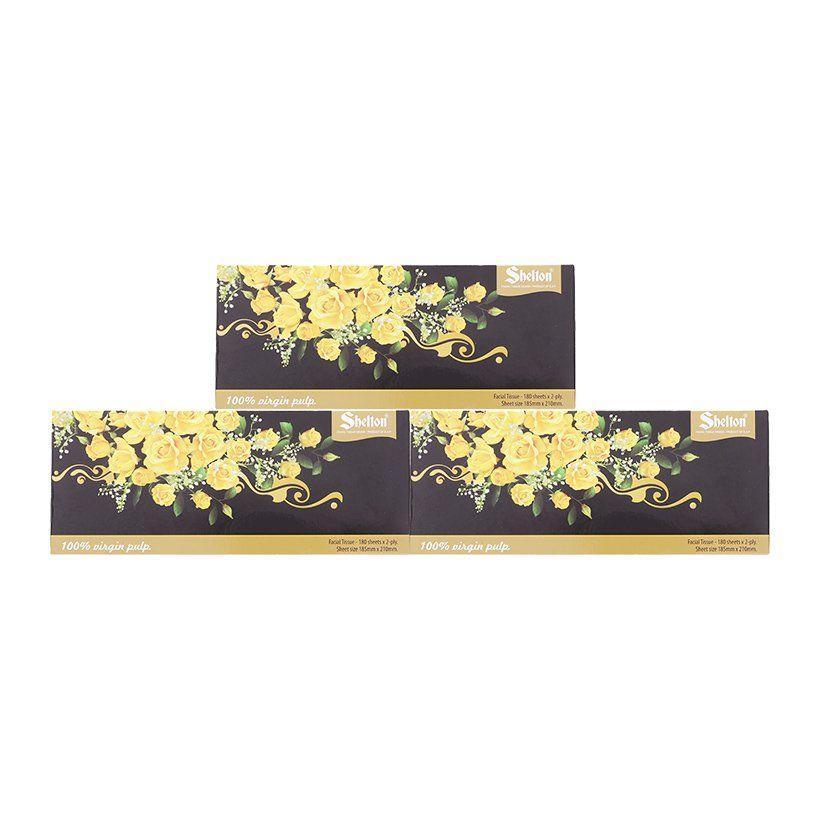 Giá Tiết Kiệm Để Sở Hữu Ngay Combo 3 Hộp Khăn Giấy 2 Lớp Shelton Hoa Vàng 18,5 X 21 Cm (180 Tờ)
