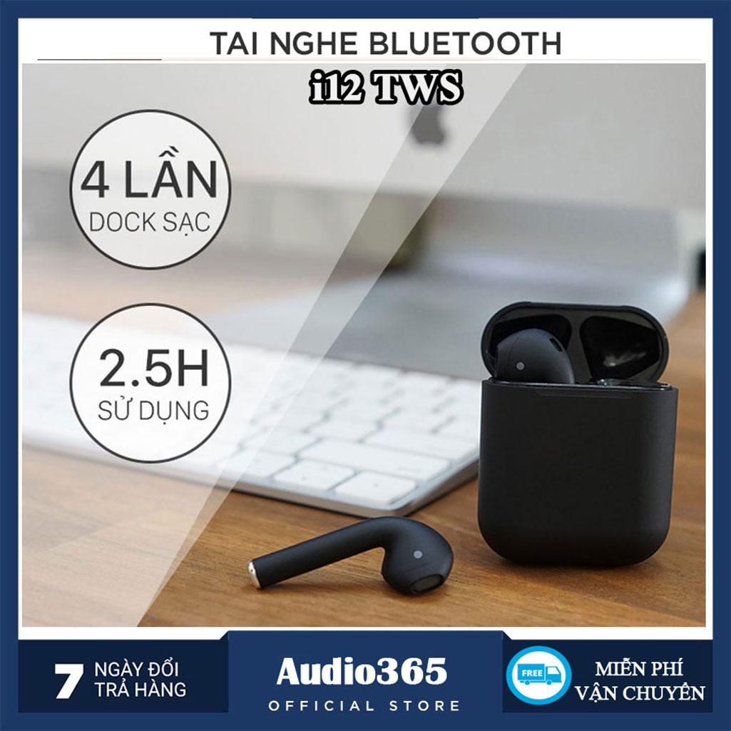Tai Nghe Bluetooth 5.0 I12 TWS cảm ứng vân tay, có poup kết nối tự động, nghe nhạc 3h liên tục