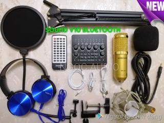 Bộ thu âm live stream Sound card V10 và Mic BM900( sock mouth nhựa ) đầy đủ phụ kiện ,kẹp bàn ,màng lọc âm ,tặng tai phone