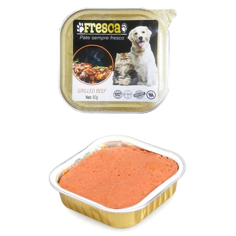Pate cho chó mèo Pate fresca chó hộp nhôm dùng được trong lò viba - Hộp 80g