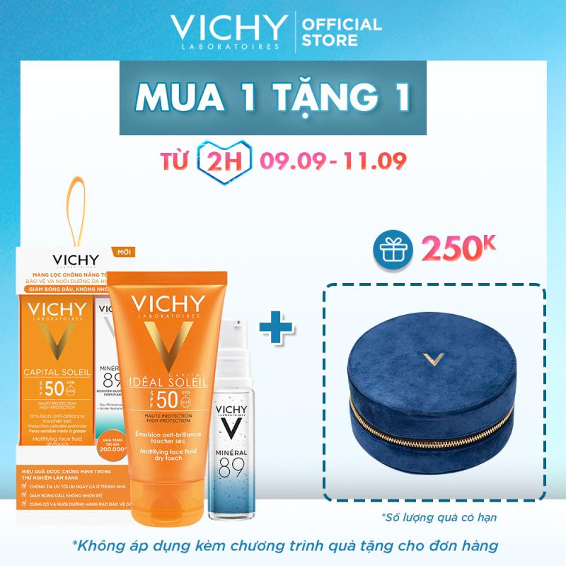 Bộ kem chống nắng không gây nhờn rít Vichy Ideal Soleil Dry touch 50ml giá rẻ