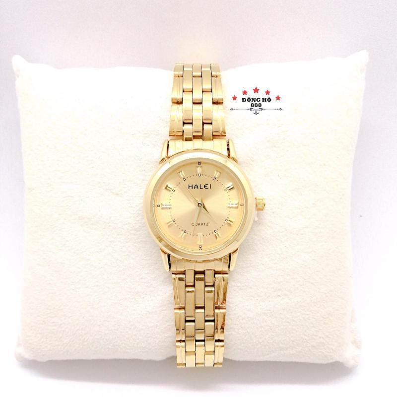 Đồng hồ nữ HALEI dây kim loại thời thượng ( HL502 dây vàng mặt vàng ) - TẶNG 1 vòng tỳ hưu phong thuỷ