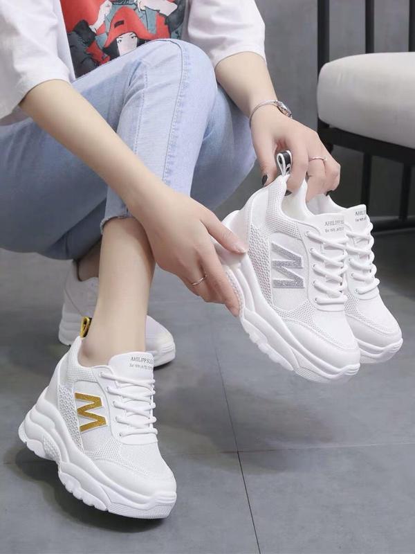 Giày thể thao nữ độn đế chữ M - giày nữ giày sneaker nữ giày nữ sneaker giày dép nữ màu trắng chất siêu đẹp thời trang hàn quốc giá rẻ cao cổ đế giày tăng chiều cao giày đi học giày công sở giày học sinh giày bts giày hot giày pro