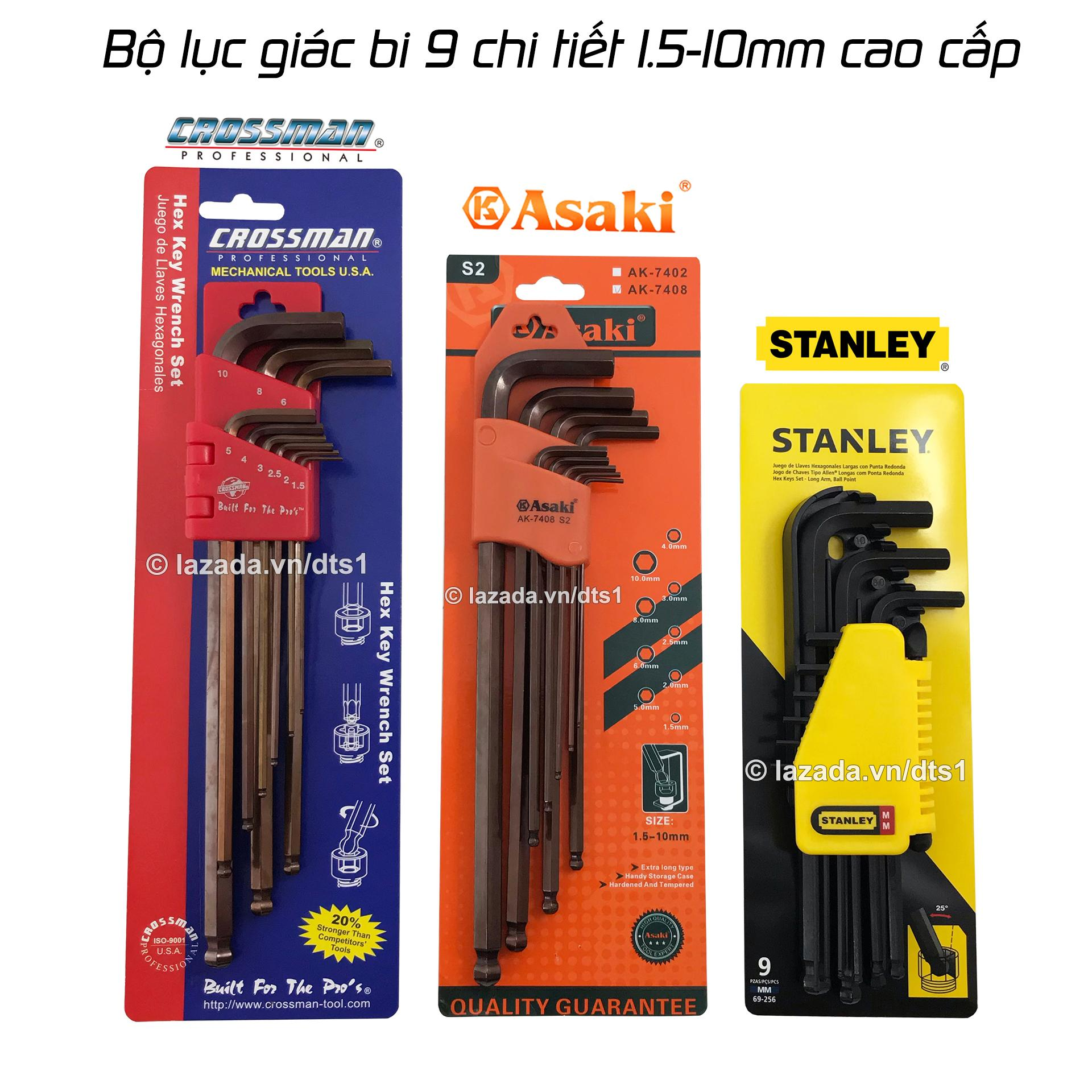 Bộ lục giác bi 9 chi tiết 1.5-10mm Stanley, Crossman, Asaki - Bộ lục giác chất lượng cao được tin dùng nhất