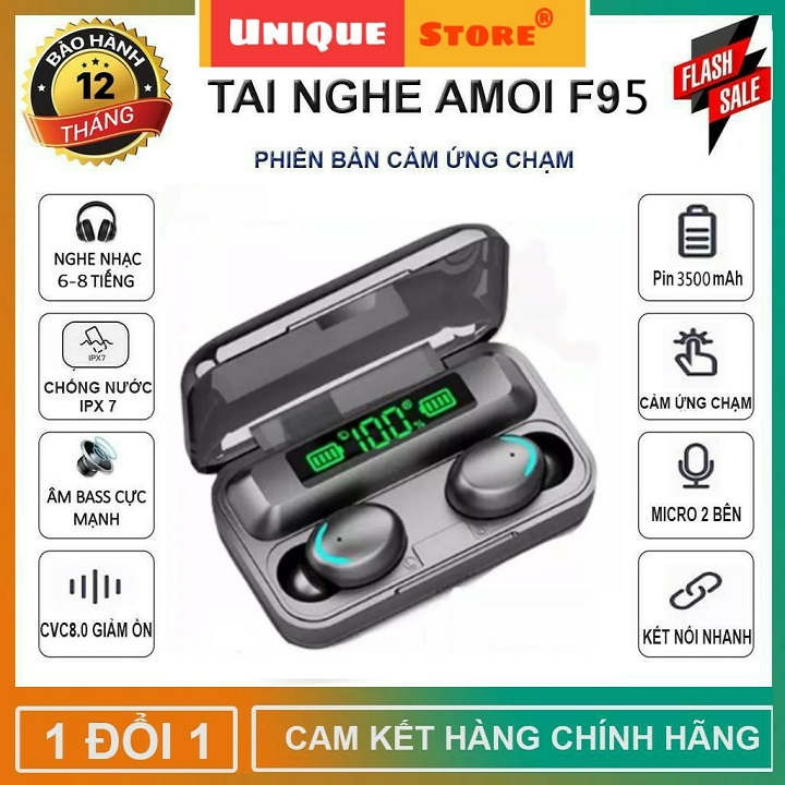 Tai Nghe Bluetooth AMOI F95 Phiên Bản Pro Quốc Tế Nâng Cấp, Pin Siêu Trâu Dock Sạc 3500 mAh- Tai nghe bluetooth pin trâu - Tai nghe nhét tai không dây bluetooth, Tai nghe bluetooth mini - Tai nghe i7s, i9s, i11s, Amoi f9