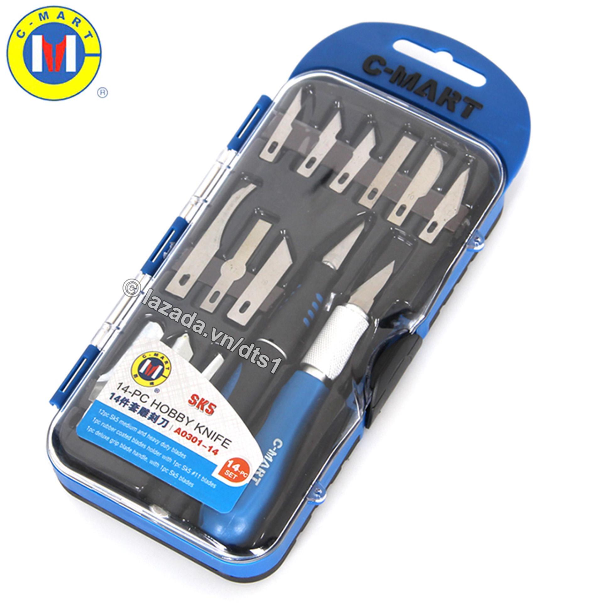 Bộ dao đa năng C-MART A0301 14 chi tiết, Bộ dao điêu khắc, chạm, trổ, tách, ghép cao cấp C-MART A0301-14