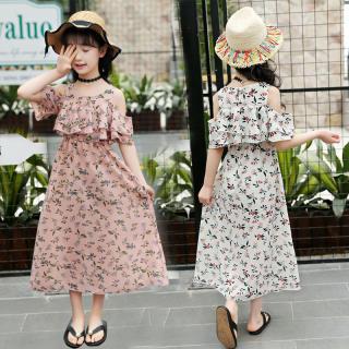 CX Đầm Voan Mùa Hè Cho Bé Gái Tuổi Teen Mới, Đầm Đi Biển Không Dây Hoa, Váy Dài Voan Ngắn Tay 3-12 Năm