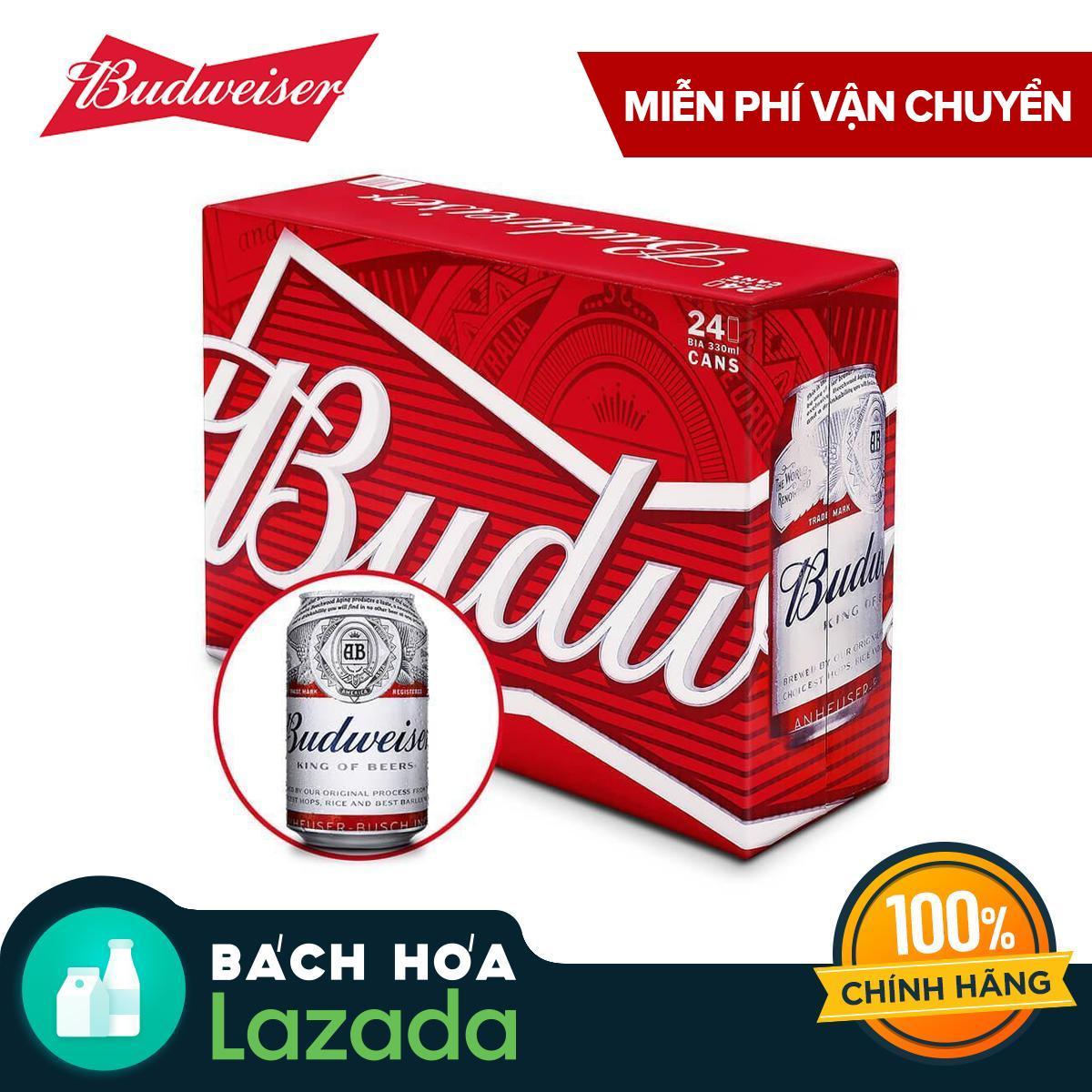 Thùng 24 Lon Bia Budweiser 330ml Đang Trong Dịp Khuyến Mãi