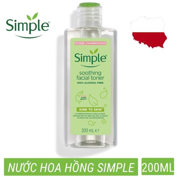 Nước hoa hồng toner Simple Kind To Skin Soothing Facial Không chứa cồn diệu nhẹ cho làn da  (200ml) cao cấp