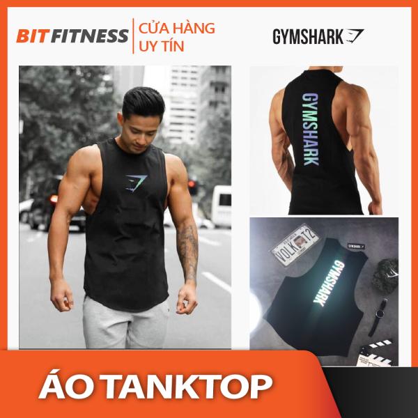 [100% cotton, logo phản quang 7 màu] Áo Tanktop tập Gym - Áo ba lỗ Gymshark vải cotton cao cấp - BiT Fitness