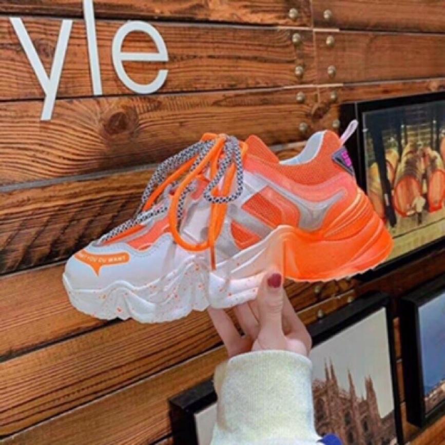 [ Hàng hot hè ] Giày thể thao nữ độn đế dây kép vấy sơn, giày sneaker nữ lưới đế màu hot hè 2020 giá rẻ