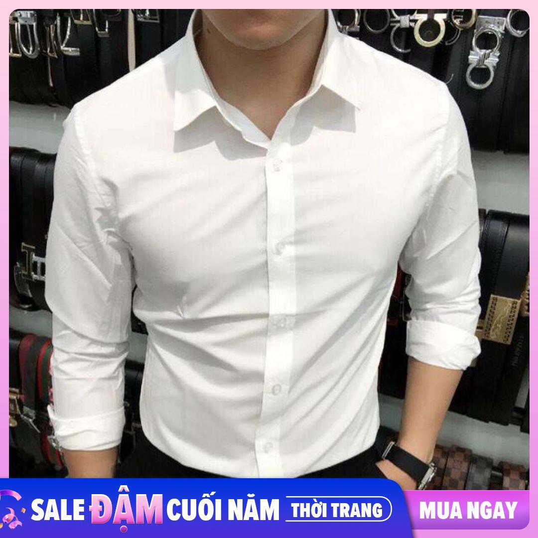 áo Sơ Mi Nam Tay Dài Màu Trắng Không Nhăn Vải Mềm Mịn Hàn Quốc Phong Cách Công Sở Thanh Lịch Duy Nhất Khuyến Mại Hôm Nay
