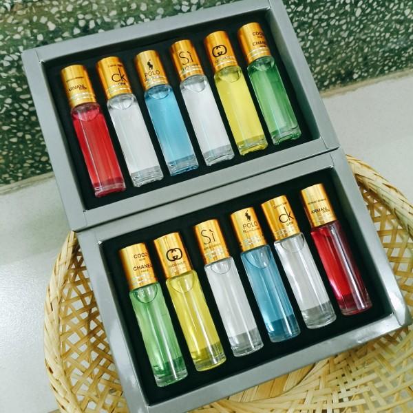 Nước hoa Pháp 6 chai - dạng lăn- chai xoắn mùi thơm