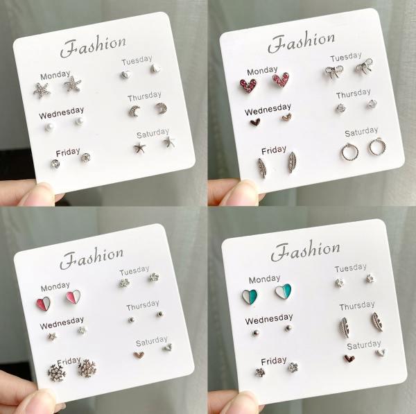 Set Khuyên Tai 6 Món - Khuyên Tai Nữ Hot Nhất B2311 Bảo Ngọc Jewelry