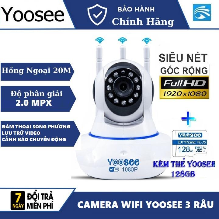 (KÈM thẻ nhớ 128 GB Bảo Hành 5 năm)Camera IP WIFI YOOSEE 3 RÂU KHÔNG DÂY xoay 360 độ độ phân giải 2.0 MPx Full HD 1920 X 1080pCamera không dây wifi hỗ trợ Ghi âmtrong nhàngoài trời