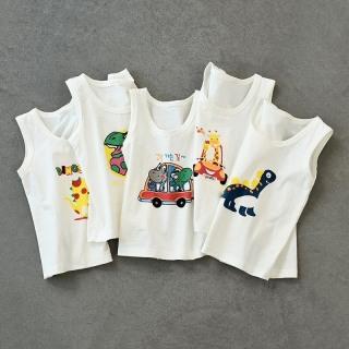 COMBO 5 áo thun ba lỗ cotton trắng cho trẻ em in hình dễ thương cho bé trai-bé gái thumbnail