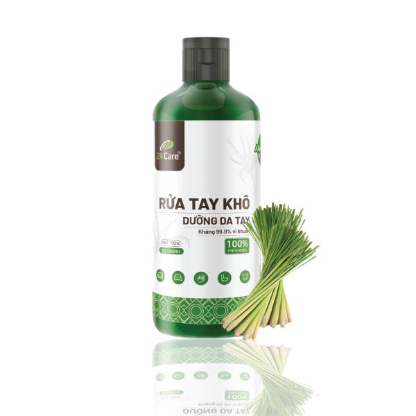 [FDA APPROVED] Nước rửa tay khô sát khuẩn tinh dầu thảo mộc Sả chanh 24Care 100ml - có kiểm định diệt khuẩn 99,9%  ĐẠT TIÊU CHUẨN FDA HOA KỲ - XUẤT KHẨU SANG MỸ