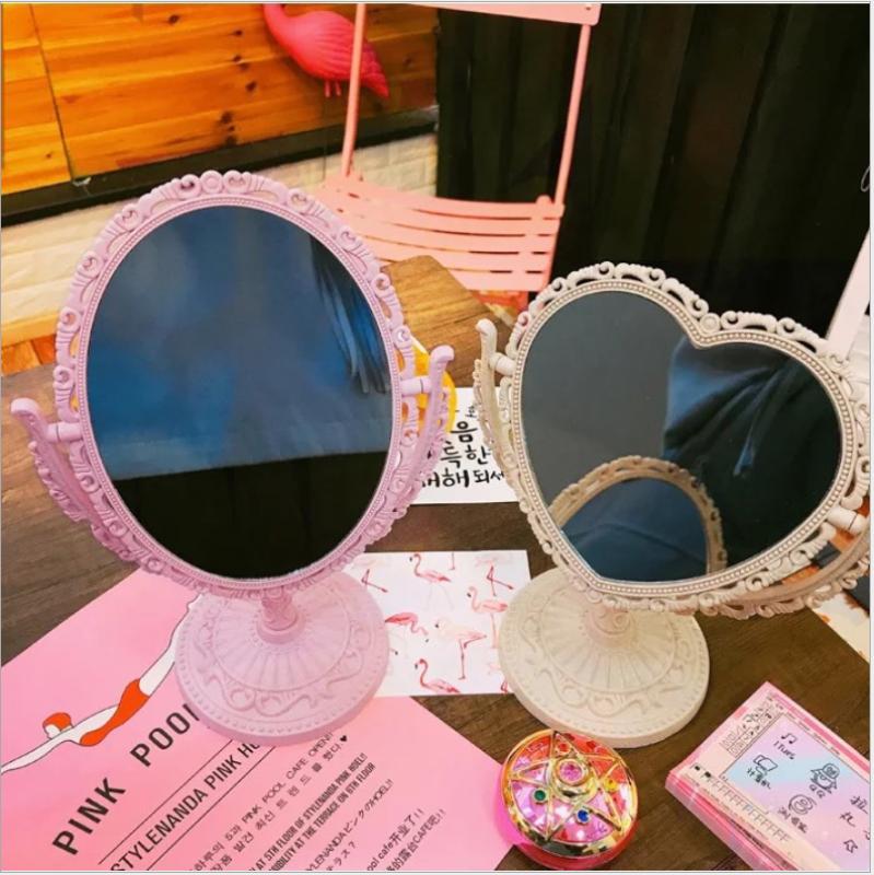 Gương trang điểm để bàn - Gương mini 2 mặt để bàn - Gương để bàn hình bầu dục, gương để bàn hình tim nhập khẩu