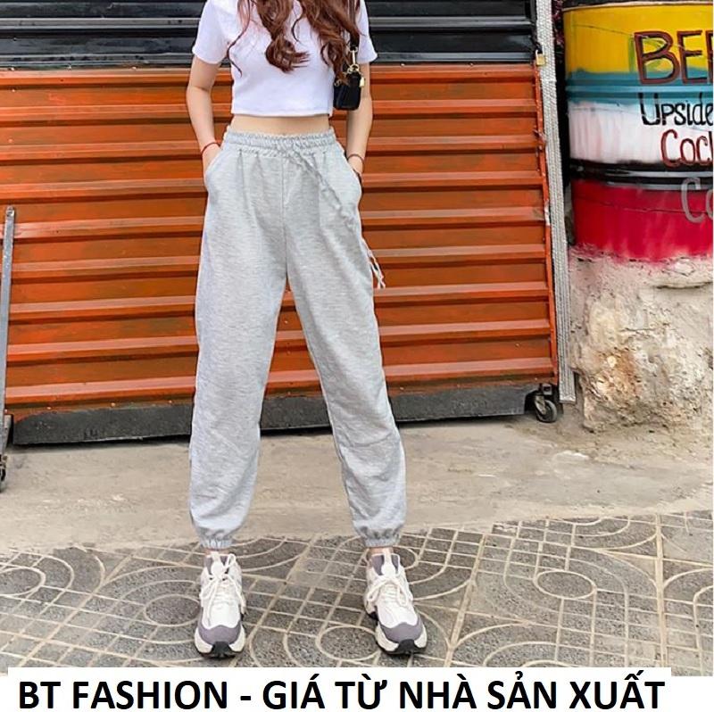 Quần Thể Thao Jogger Nữ Thời Trang Hot - BT Fashion (TRƠN XÁM TRẮNG MỚI TT02) + Hình thật, Video + Chọn bên dưới để mua thêm Áo