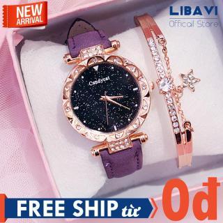 [TẶNG VÒNG TAY NGẪU NHIÊN] Đồng hồ nữ Candycat C47, đồng hồ mặt tròn đính đá, chạy 3 kim, dây đeo da cao cấp, kháng nước, chống trầy nhẹ (nhiều màu) thumbnail
