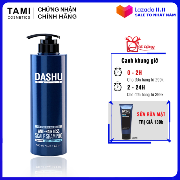 Dầu gội ngăn rụng tóc dành cho nam DASHU Anti - Hair Loss Scalp Shampoo Phục hồi tóc hư tổn Sạch gàu và ngứa dầu gội Hàn Quốc 500ml TM-DG01