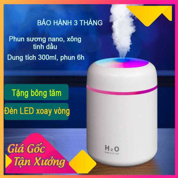 Máy xông tinh dầu, máy phun sương nano mini( tặng lõi bông), máy khếch tán tinh dầu làm đèn ngủ, phun sương tạo ẩm không khí, đèn led 7 màu, sạc USB, dung tích 300 ml shop [Akycare]