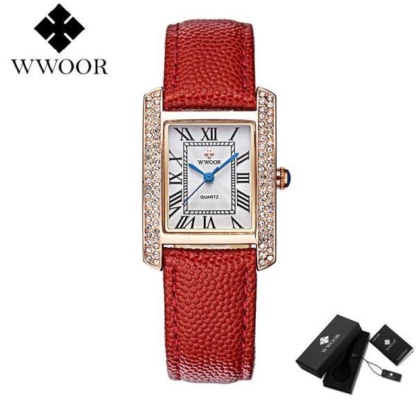 WWOOR Đồng hồ đeo tay cho nữ, cao cấp, mặt vuông, dây da, chống nước, siêu nhẹ - INTL