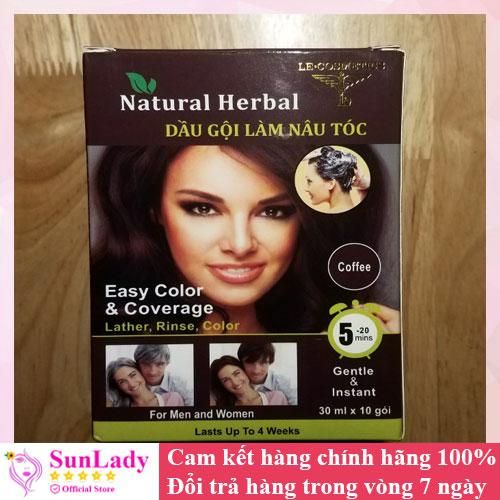 Dầu gội làm nâu tóc Natural Herbal - Dầu gội phủ bạc - Dầu gội nhuộm tóc nâu đen - Gội là đen -Hộp 10 gói
