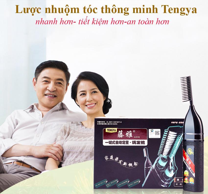 Lược nhuộm tóc thông minh, Luot nhuom toc, Lược chải tóc thông minh Tengya 2019  tặng kèm lõi nhuộm tóc thảo dược  , Bảo hành uy tín 12 tháng