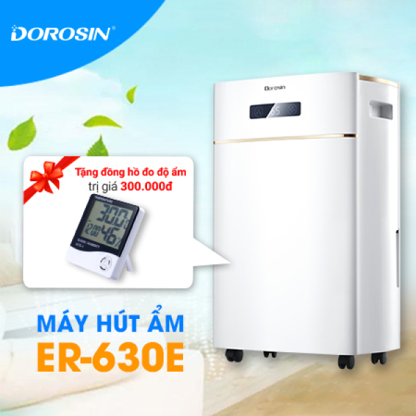Máy hút ẩm Dorosin ER-630E công suất lớn 30 lít/ngày Tặng Đồng Hồ Đo Nhiệt Độ, Độ Ẩm HTC-01