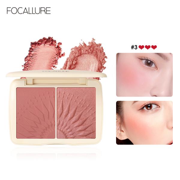 Hộp phấn má hồng và phấn bắt sáng 2 trong 1 FOCALLURE dạng bột mềm mịn lâu trôi giúp làm sáng nổi bật khuôn mặt - INTL giá rẻ