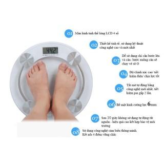 Cân sức khỏe - Cân điện tử hình tròn mặt kính cường lực tiện dụng Max 180kg(Trong suốt) -dc1899 thumbnail