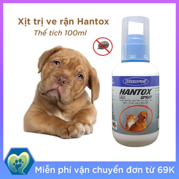 HANTOX SPRAY Xịt diệt bọ chét, ve, chấy, rận, ghẻ ở chó mèo thú cảnh 100ml