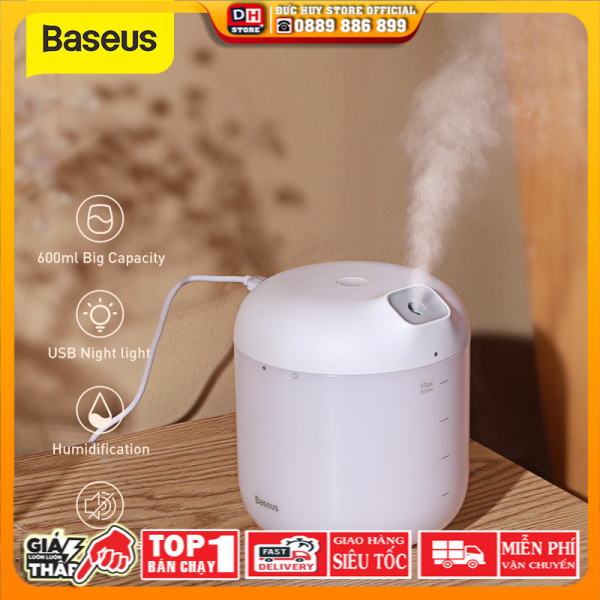 Máy tạo độ ẩm Baseus thông minh Dung tích 600ML khuếch tán không khí tạo độ ẩm cho phòng ngủ không tiếng ồn tính năng tự tắt máy sau 10h sử dụng - INTL