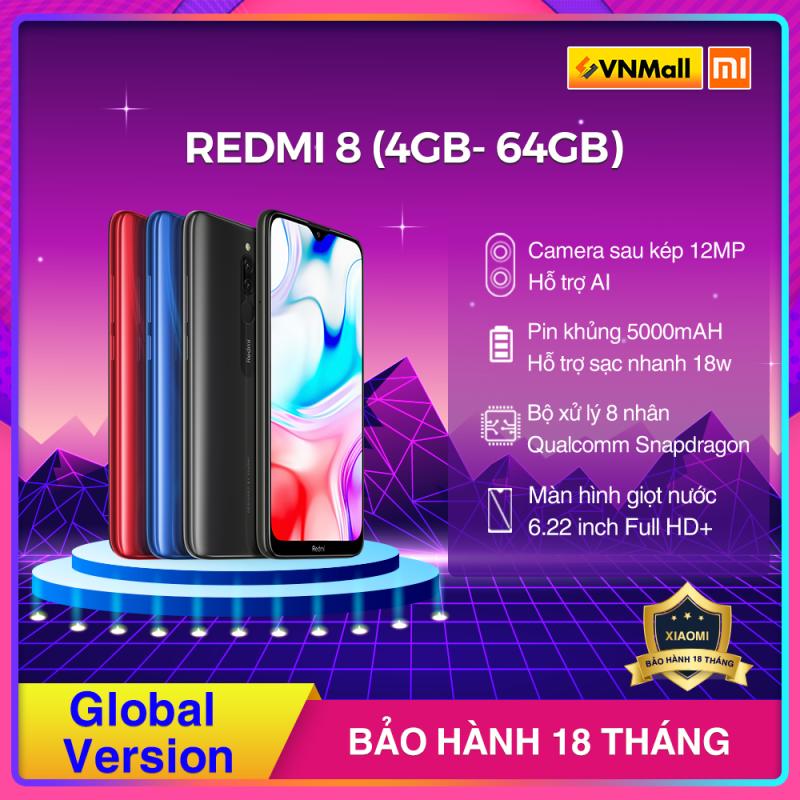 [HÀNG CHÍNH HÃNG] Xiaomi REDMI 8 (4GB- 64GB) Màu Đen/Xanh/Đỏ, Snapdragon 439, Camera Kép, Pin 5000 mAh Siêu Khủng, Hỗ Trợ Sạc Nhanh - BH 18 Tháng.