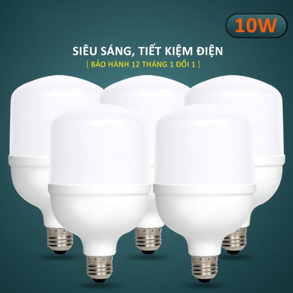Combo 5 Bóng đèn Led hình trụ búp tiết kiệm điện, đuôi vít xoắn ốc E27 công suất 5W-10W-15W-20W-30W-40W-50W, ánh sáng trắng, tuổi thọ cao, không nhấp nháy, không tia UV, nhà trọ, gia đình, văn phòng-DBT