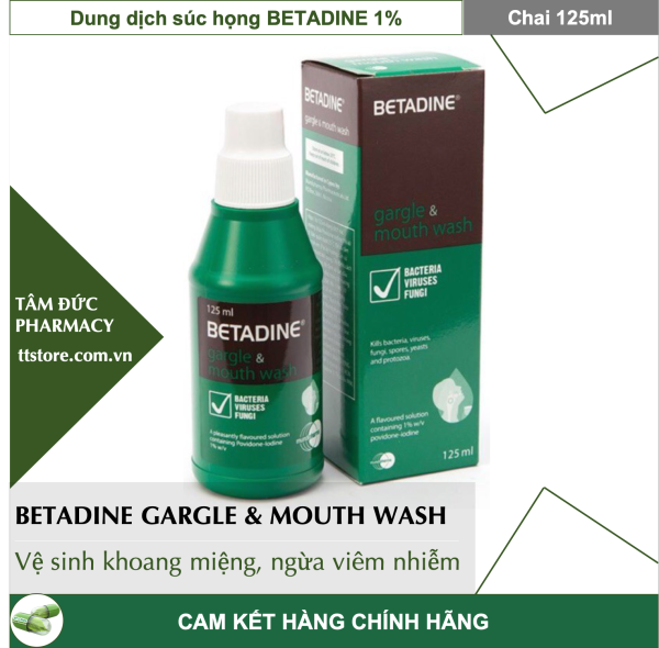 Nước Súc Miệng Họng BETADINE Gargle & Mouth Wash 125ml vệ sinh khoang răng miệng [betadin] cao cấp