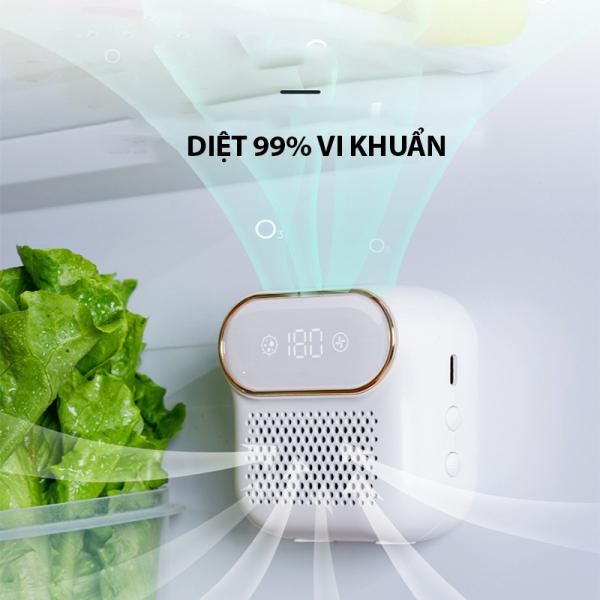 Máy khử ozone, Máy lọc không khí mini - Tiêu diệt vi khuẩn trong tủ lạnh giữ thực phẩm luôn tươi ngon, khử mùi trong tủ giày, tủ quần áo và cả nhà tắm