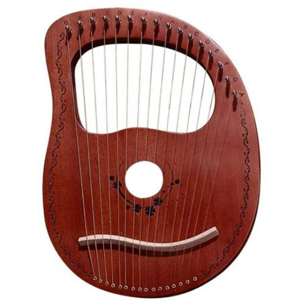 Lyre Harp 16 String Harp Portable Small Harp with Durable String Musical Instrument Stable Sound Harp,Coffee Color