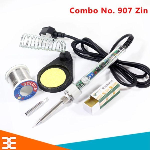 Combo Mỏ Hàn NO.907 ZIN -60W và 5 Món Phụ Kiện (Mũi Hàn Dao T-K, Kệ Hàn, Bọt Biển Tròn, Thiếc OK, Nhựa Thông)