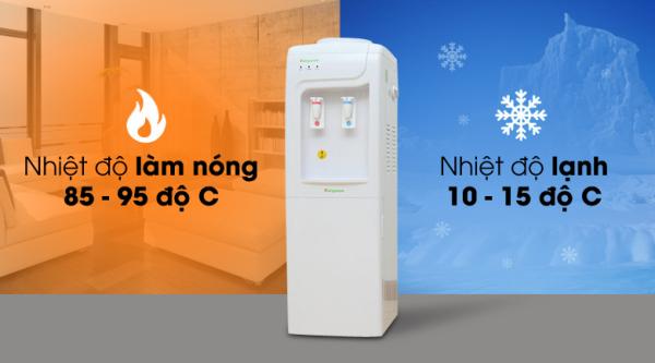 Bảng giá Cây nước nóng lạnh Kangaroo KG3331 Nhiệt độ làm nóng 85 - 95 độ C, nhiệt độ lạnh 10 - 15 độ C. Khoang khử trùng tách, ly uống nước tiện lợi, an toàn. 2 vòi lấy nước nóng và lạnh riêng biệt, dễ sử dụng. Điện máy Pico