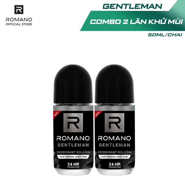 Combo 2 Lăn khử mùi Romano kháng khuẩn & khô thoáng cả ngày 50mlx2 giá rẻ